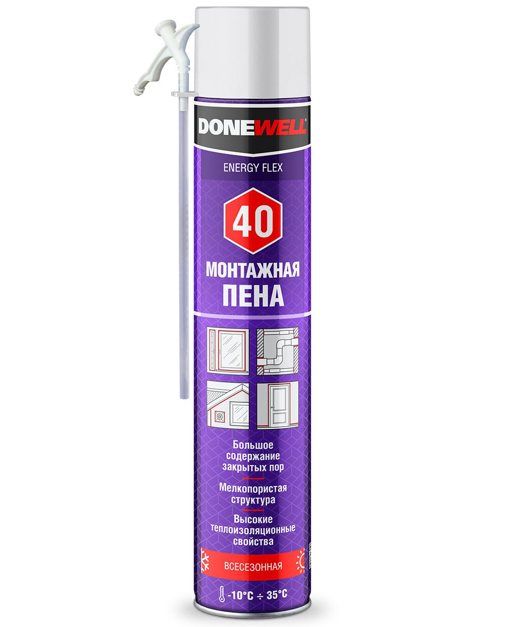 Пена полиуретановая монтажная бытовая всесезонная DONEWELL ENERGY FLEX 40 DPH10U40
